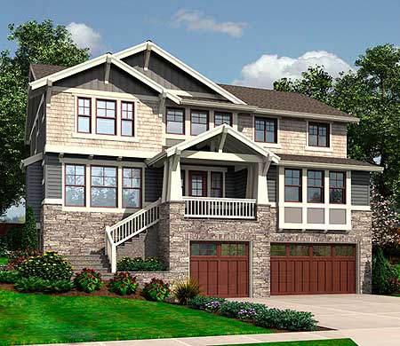 For the front sloping lot 23404jd 2nd floor master for Sloped lot house plans