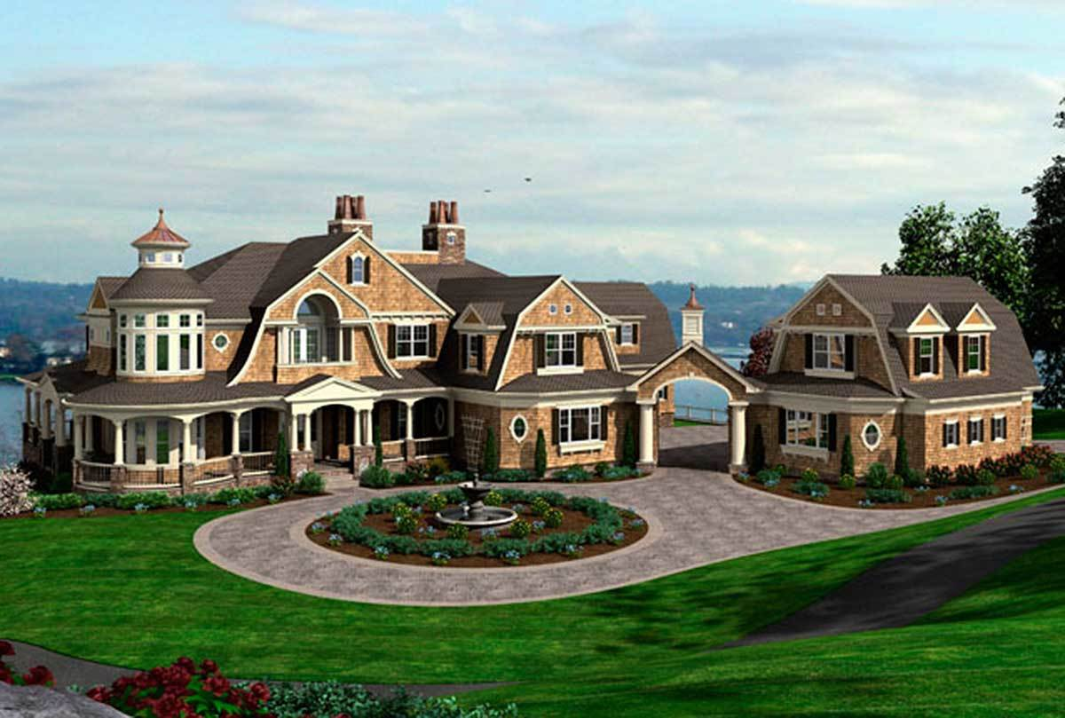 Spectacular shingle style house plan 23413jd 2nd floor for Luxury shingle style house plans