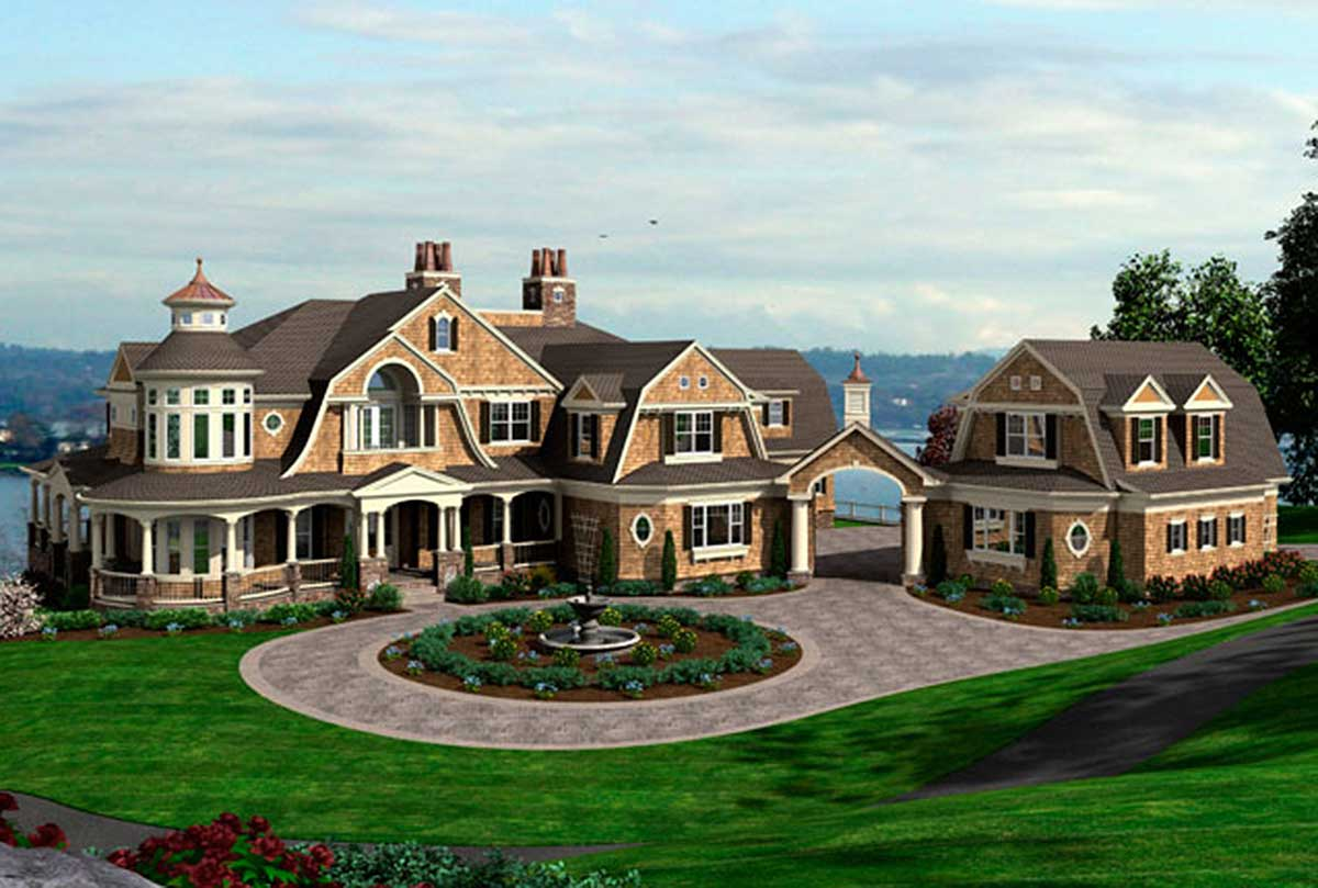 Spectacular shingle style house plan 23413jd for Shingle style house plans