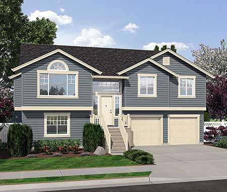 Four bedroom split level 23443jd narrow lot 1st floor for Side split house designs