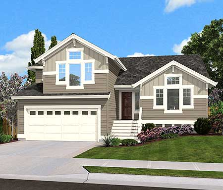Split level home plan for narrow lot 23444jd 1st floor for Split level house designs