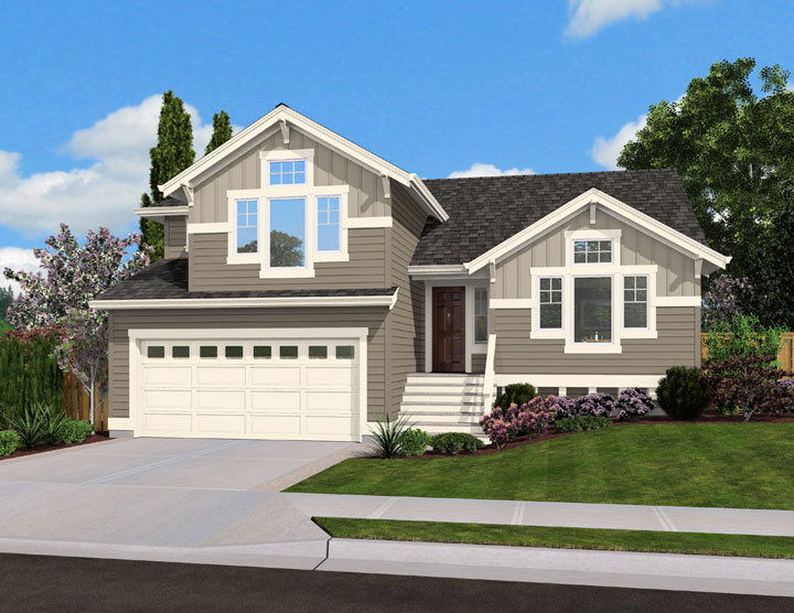 Split level home plan for narrow lot 23444jd for Side split house designs