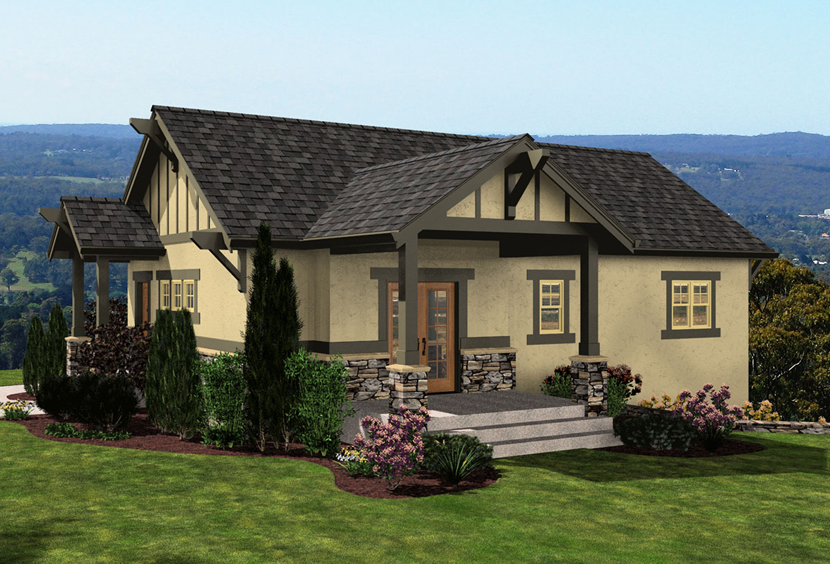Bungalow with drive under garage 23449jd architectural for Garage under house plans