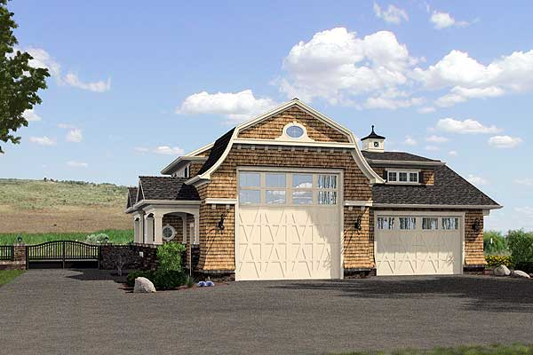 Tandem Garage House Plans: Stylish 6-Car Tandem Garage - 23450JD