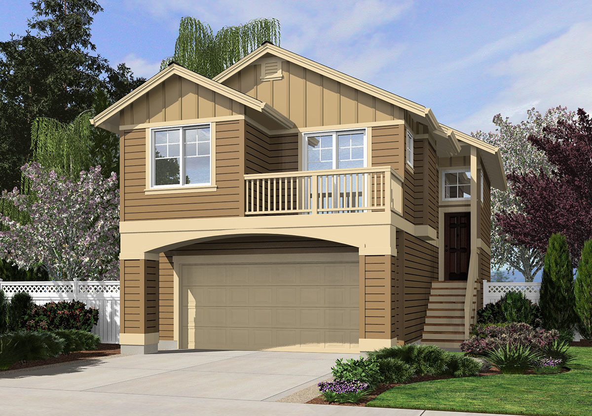Narrow lot home plan in 2 sizes 23474jd architectural for 2 family house plans narrow lot