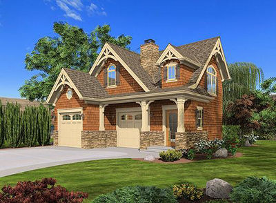 Craftsman Cottage or Carriage House Plan - 23488JD thumb - 01