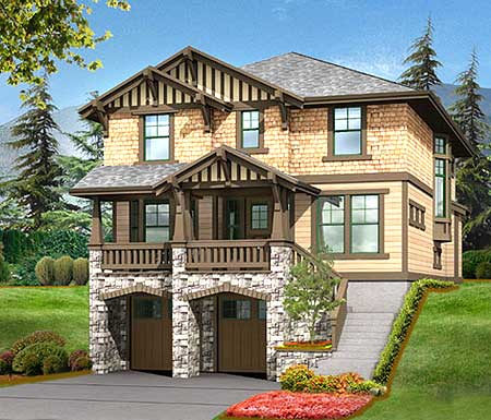 Timeless rustic exterior in 2 sizes 2349jd bonus room for Home designs for sloped lots
