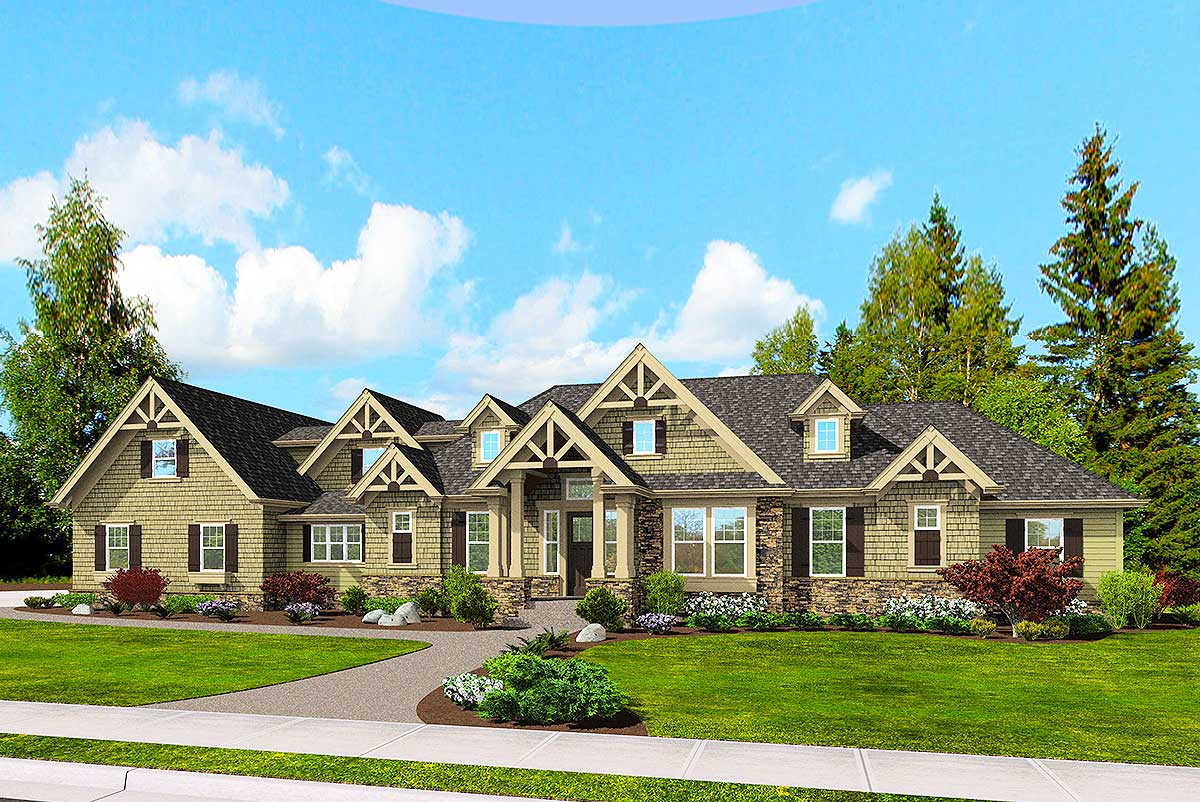 Luxury craftsman with space above 23505jd for Luxury craftsman home plans
