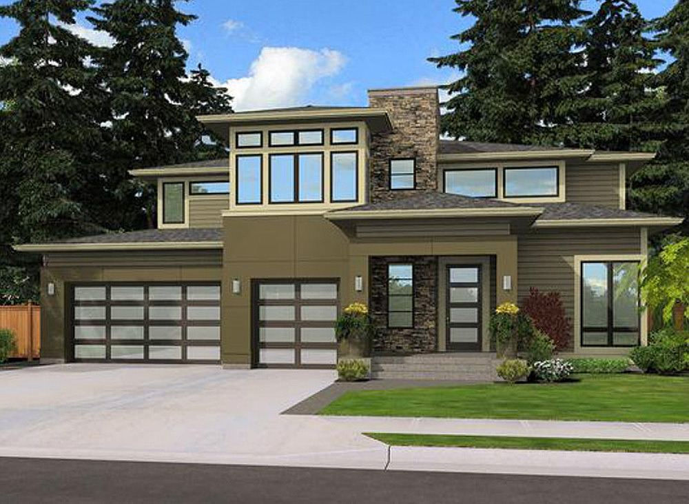 Contemporary Prairie Home Plan 23507jd Architectural