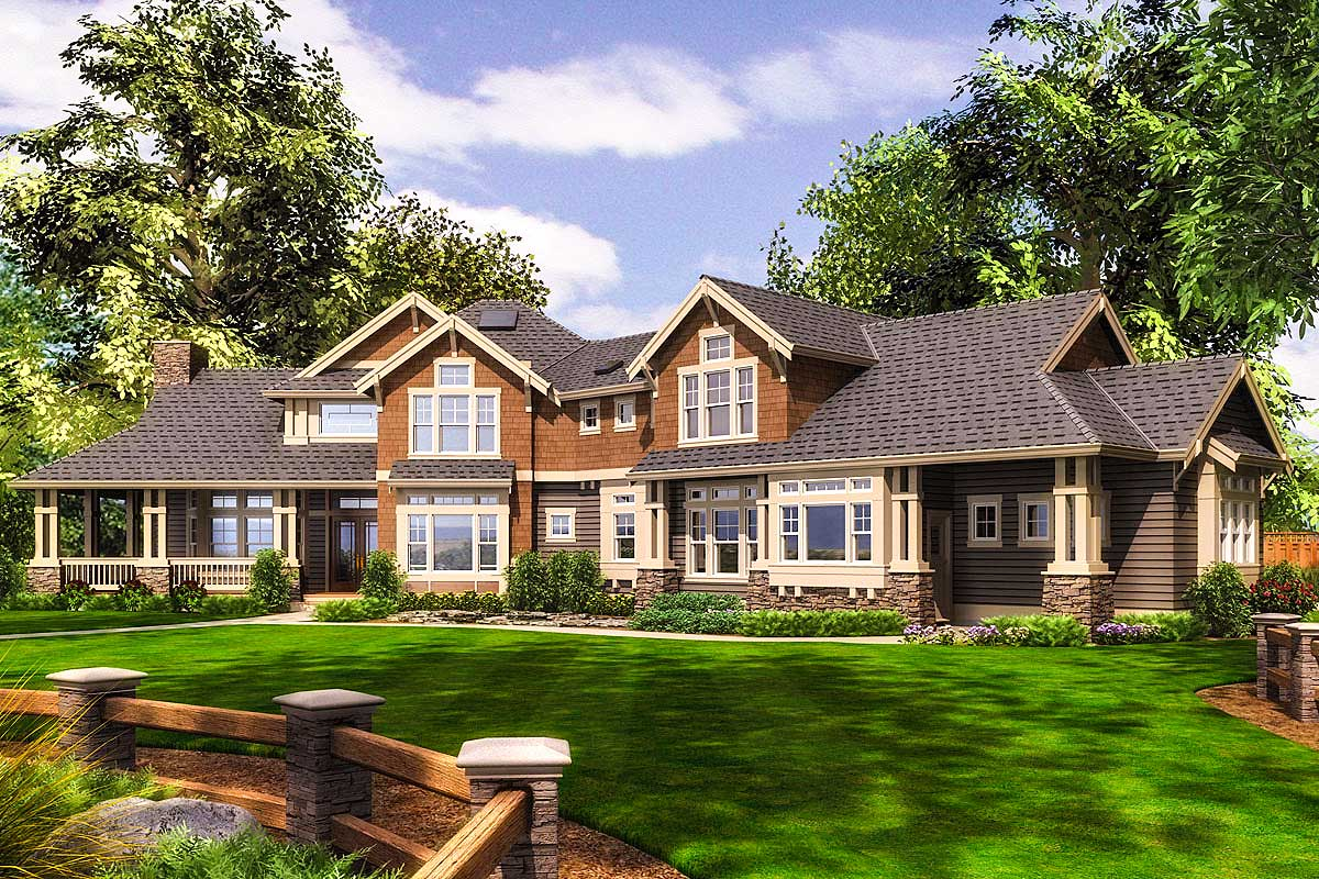 exciting craftsman home with wrap around porch 23559jd