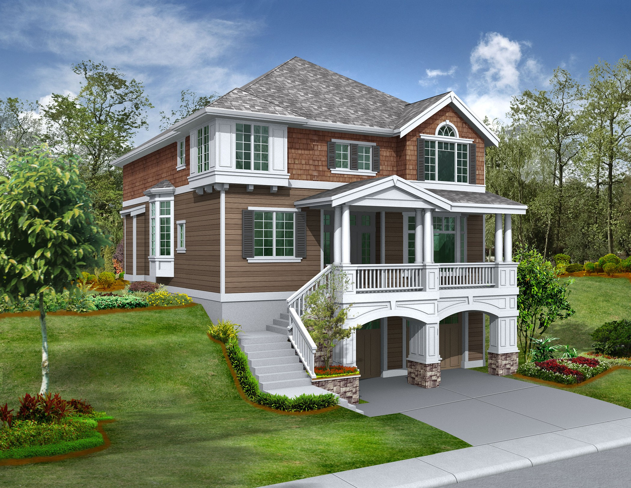 For the front sloping lot 2357jd 2nd floor master Hillside house plans for sloping lots