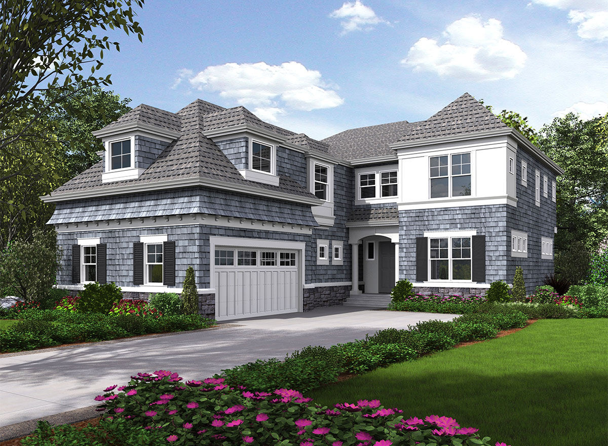 Five bedroom shingle style house plan 23578jd for Shingle style cottage plans
