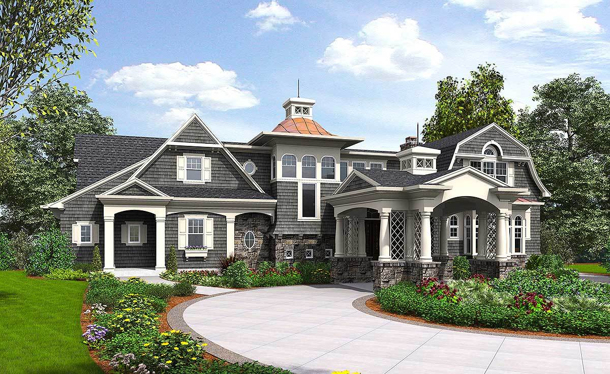 Premium shingle style house plan 23600jd architectural for Shingle style house plans