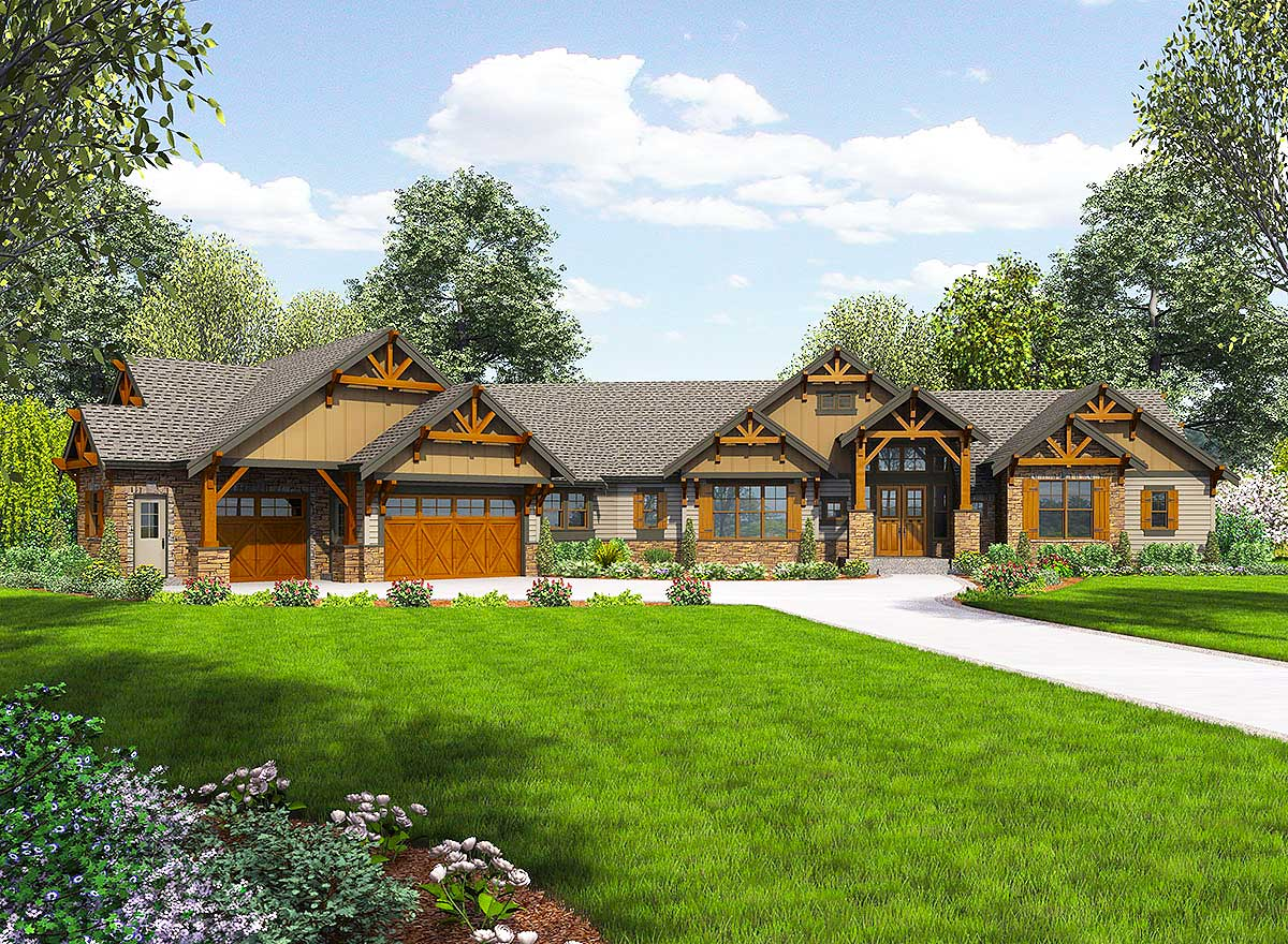 One story mountain ranch home with options 23609jd for Ranch house plans