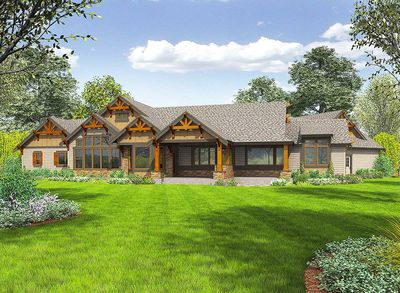 One Story Mountain Ranch Home with Options - 23609JD | Architectural ...