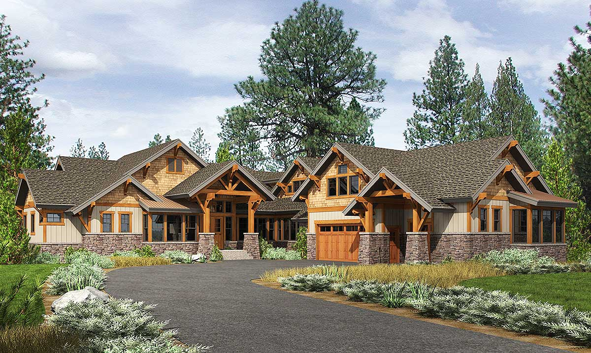 High end mountain house plan with bunkroom 23610jd for High end home plans