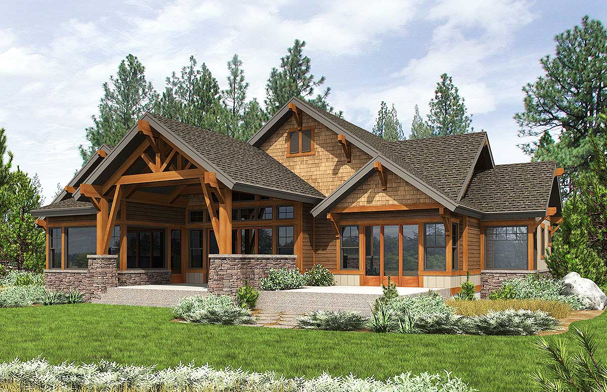 High end mountain house plan with bunkroom 23610jd 1st for Mountain house library