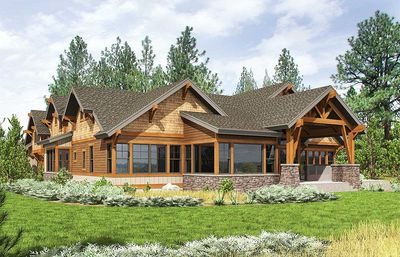 high end mountain house plan with bunkroom - 23610jd