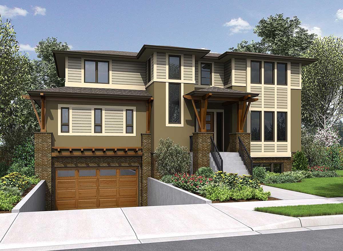 Garage Under House Plans: 4 Bed House Plan With Drive Under Garage - 23615JD