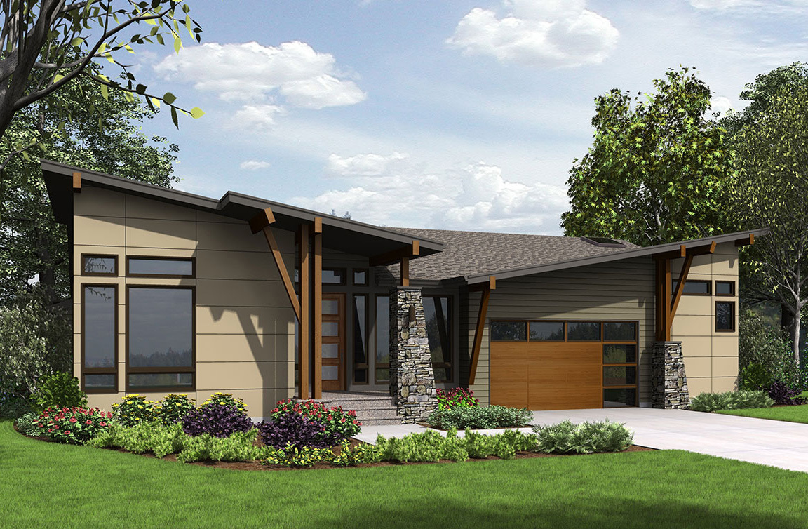 4 bed modern house plan for the sloping lot 23622jd for House plans for large lots