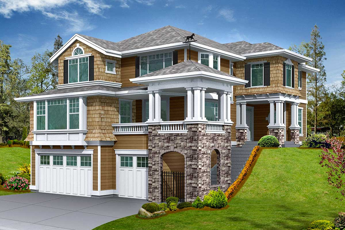 Signature gated entry tower 2364jd 2nd floor master for Under house garage designs
