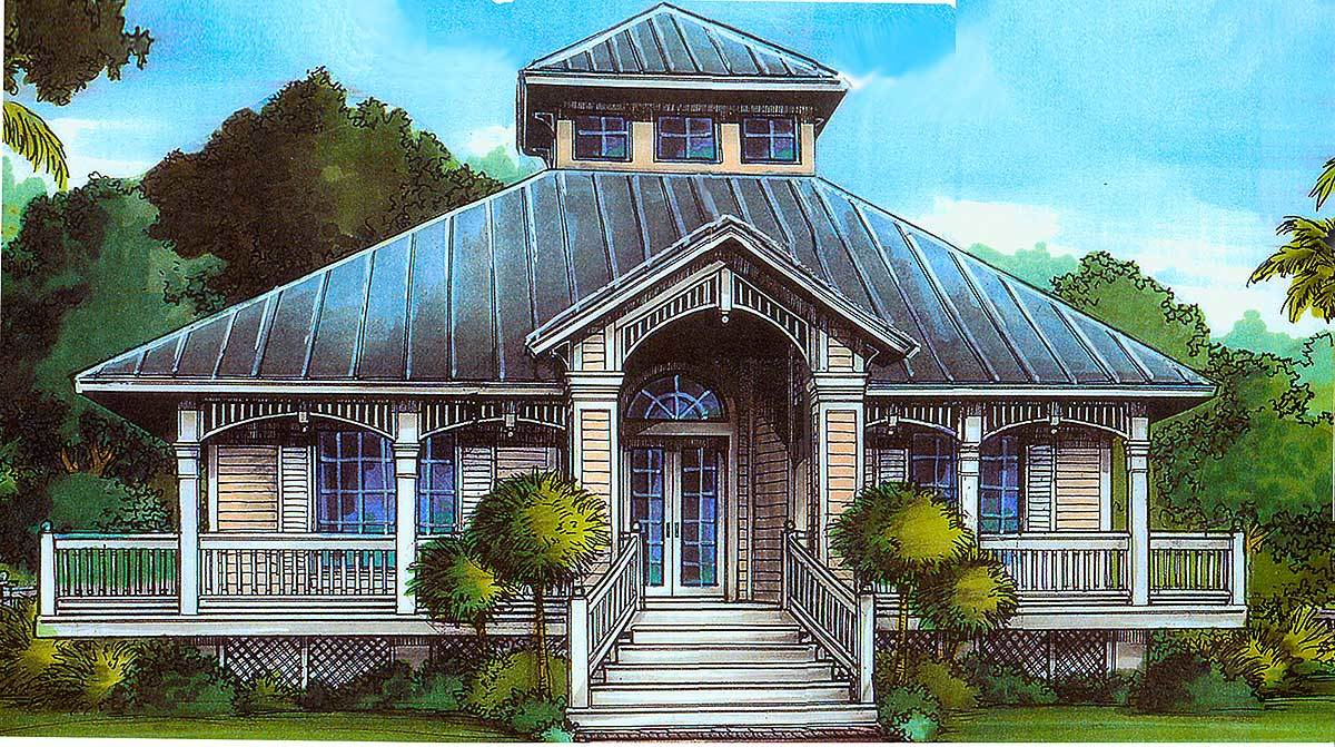 Florida cracker style 24046bg architectural designs for Florida cracker house plans wrap around porch