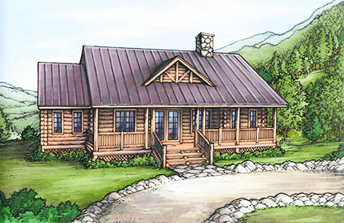 Expandable mountain cabin with vaulted ceilings 24084bg for Expandable home designs