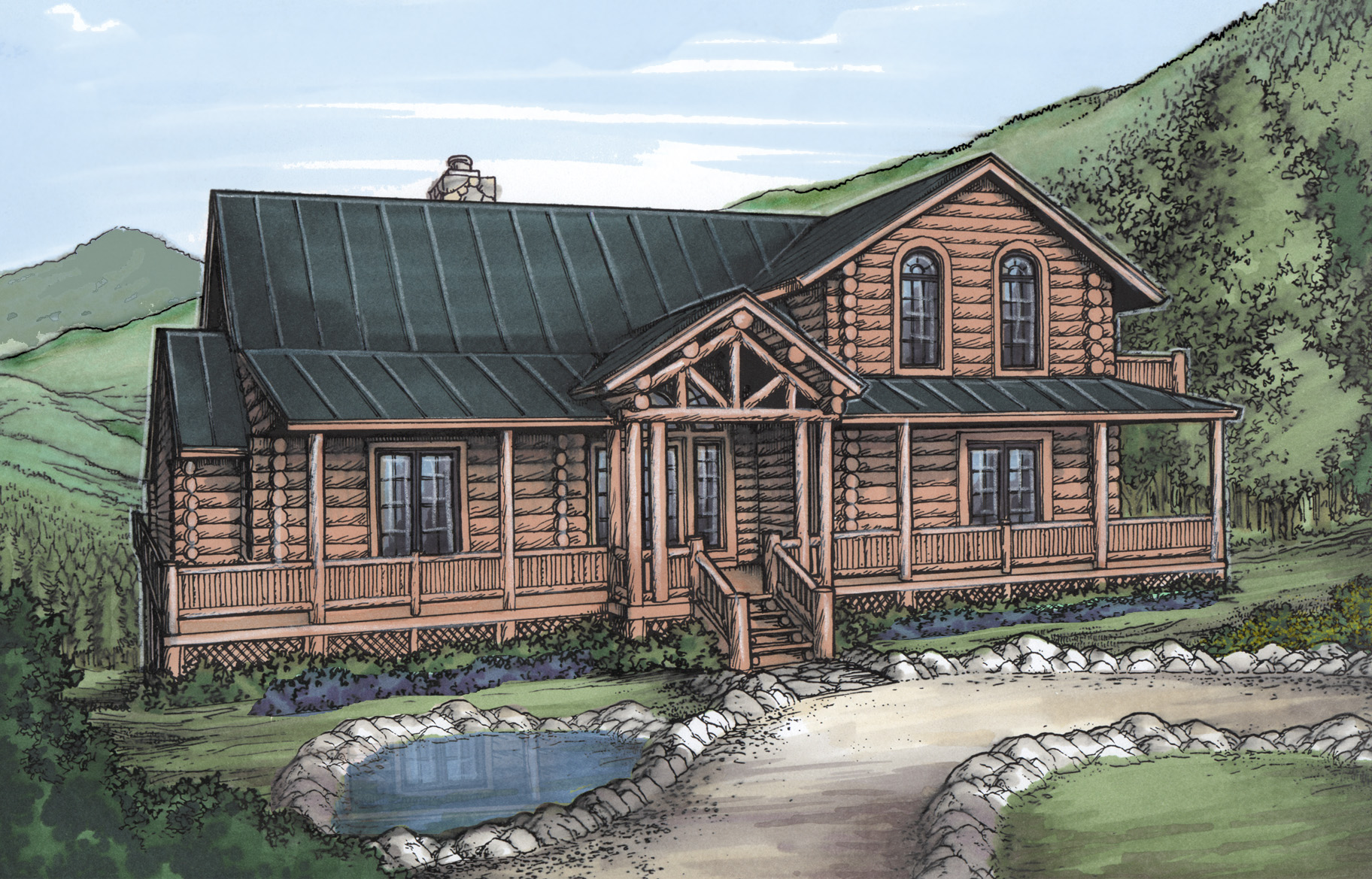 Mountain home with log siding 24088bg architectural for Mountain log home plans