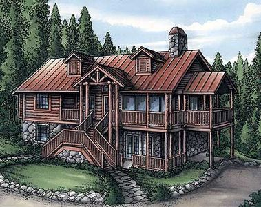 Rustic Home Plan With Log Siding 24089bg Architectural