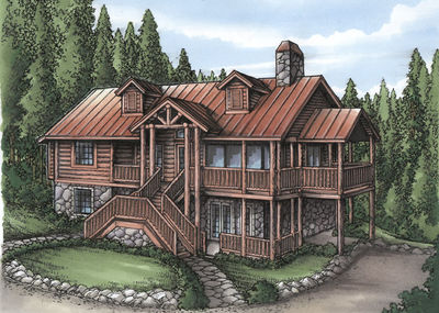 Rustic home plan with log siding 24089bg architectural for Log siding house plans