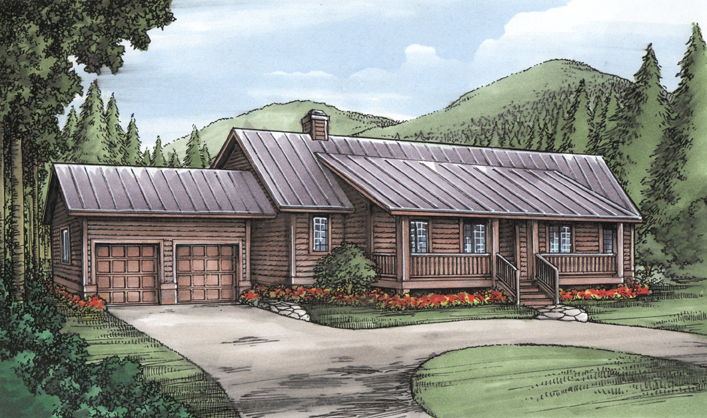 Ranch With Log Siding 24091bg Architectural Designs