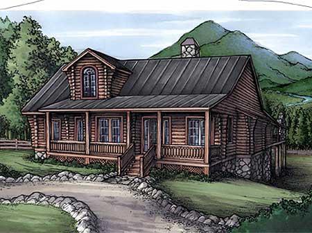 Rustic home plan with log siding 24092bg 1st floor for Log siding house plans
