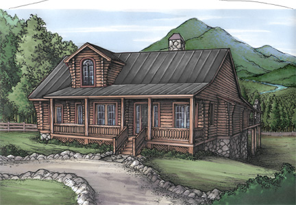 Rustic home plan with log siding 24092bg architectural for Log siding house plans