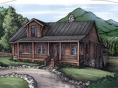 Rustic Home Plan With Log Siding 24092bg 1st Floor