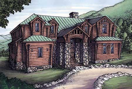 Rustic house plan with log siding 24093bg 1st floor for Log siding house plans