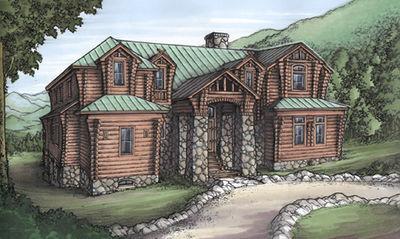 Rustic House Plan with Log Siding - 24093BG thumb - 01