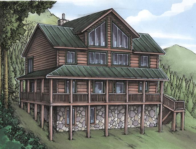 Rustic House Plan With Log Siding 24094bg