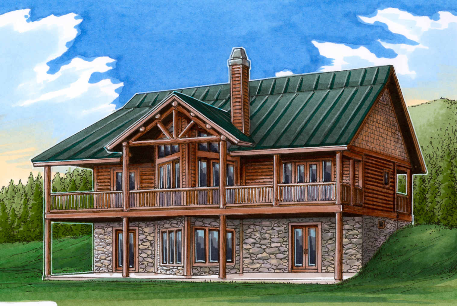 Vaulted great room 24110bg architectural designs for Mountain log home plans