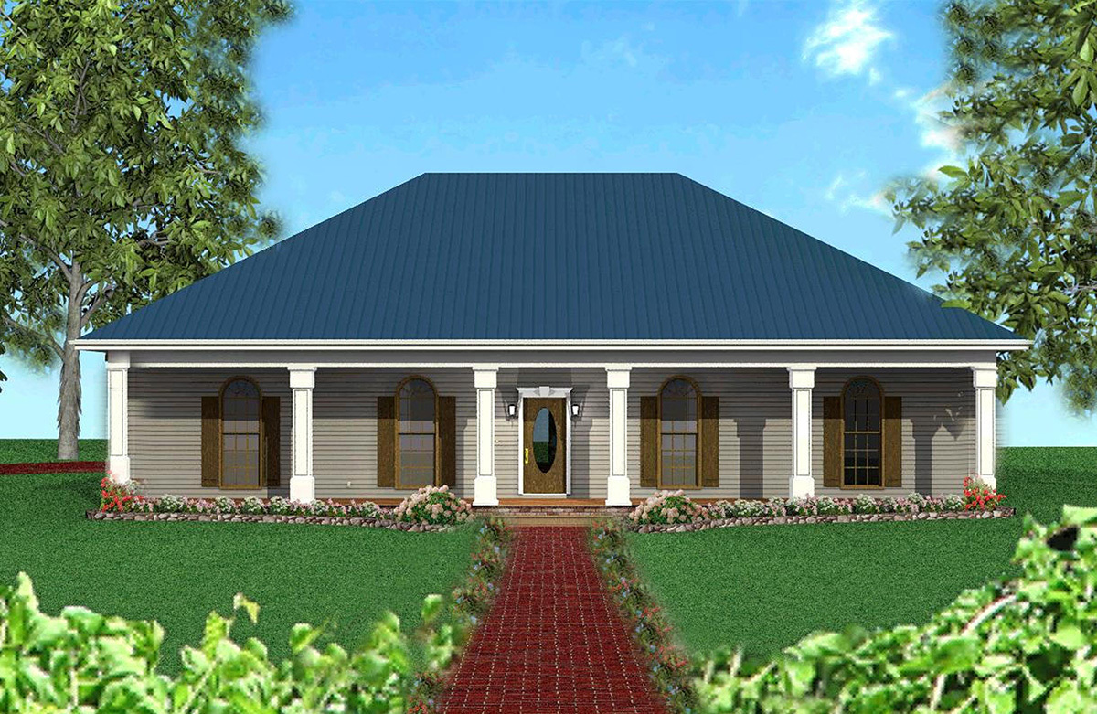 Roof Design Ideas: Classic Southern With A Hip Roof - 2521DH