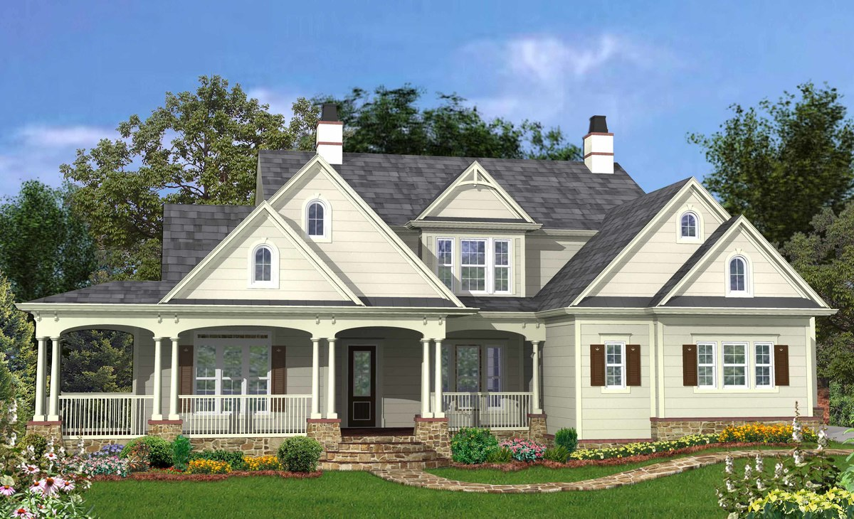 4 bedroom and 3 porch house plan 25601ge architectural for House plans with large porches