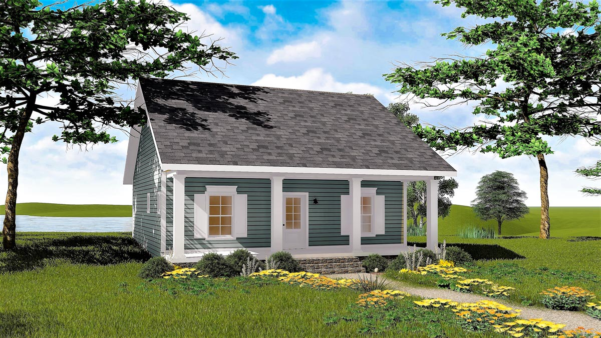 Cozy 2 bed cottage house plan 2596dh architectural for Cozy cottage floor plans