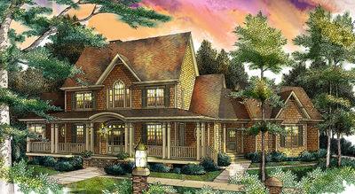 Farmhouse Home with Barrel Vault Entrance - 26627GG thumb - 01