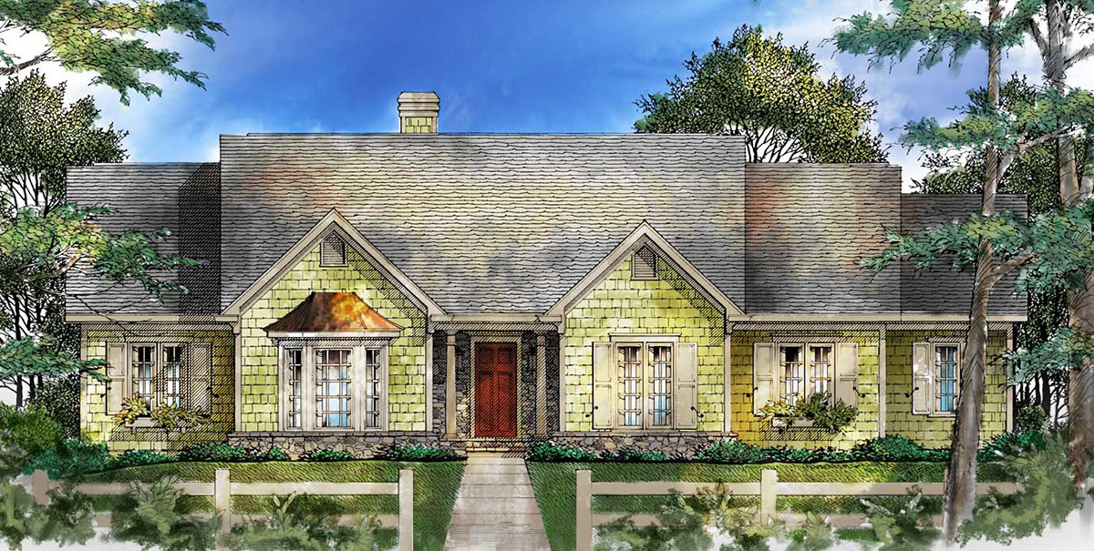 Starter home or empty nester 26631gg architectural for Small empty nester home plans