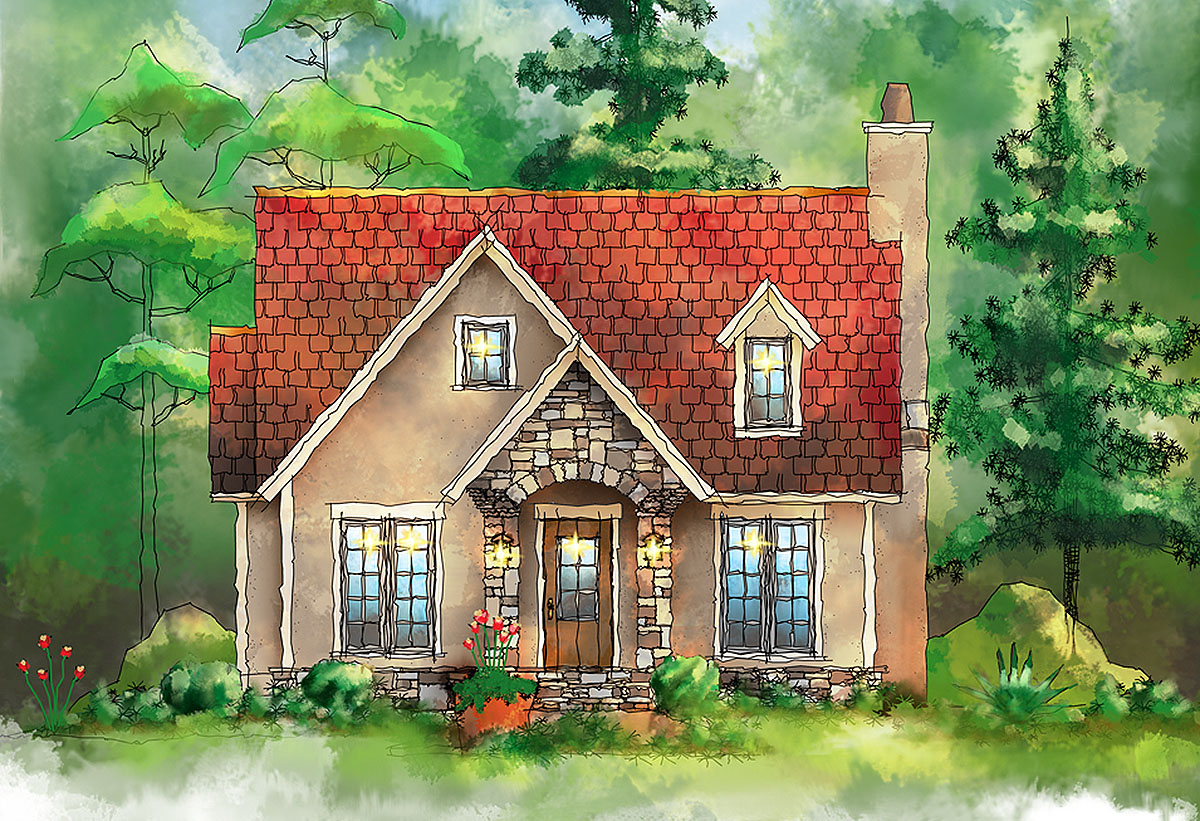 Home Design Plans: European Itty Bitty Cottage - 26685GG
