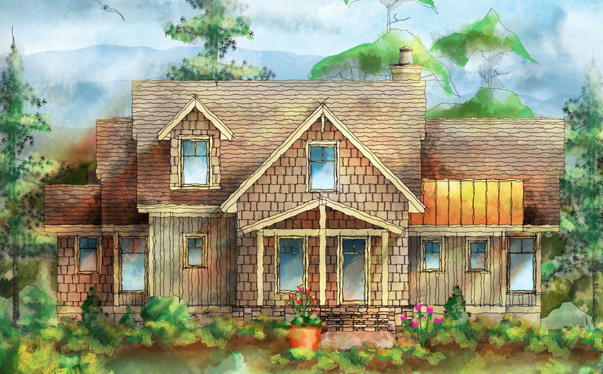 mountain cottage with detached garage 26695gg architectural