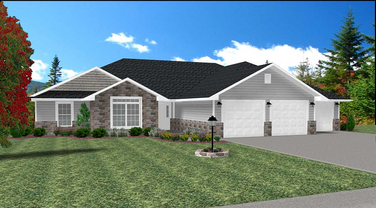 3 bed ranch with lower level expansion 26901gp for House plans designed for future expansion