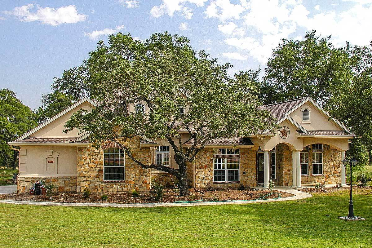 Lovely hill country ranch home 28315hj architectural for Hill country ranch house plans