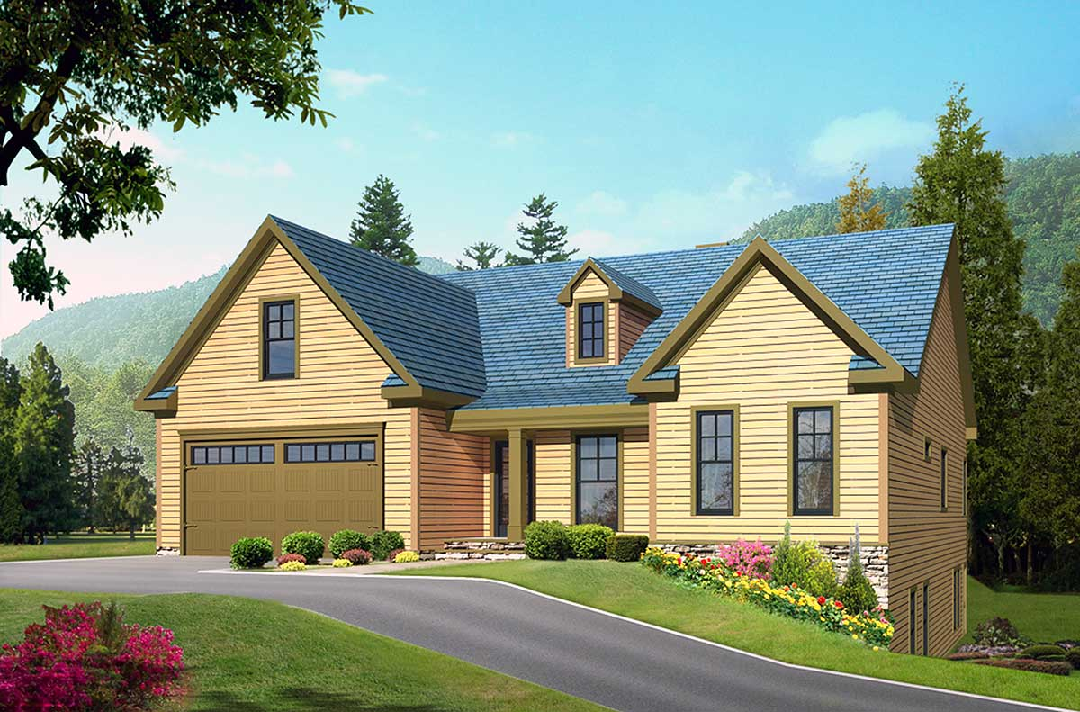 Tidy mountain home plan 29808rl architectural designs for Building on a hillside plans