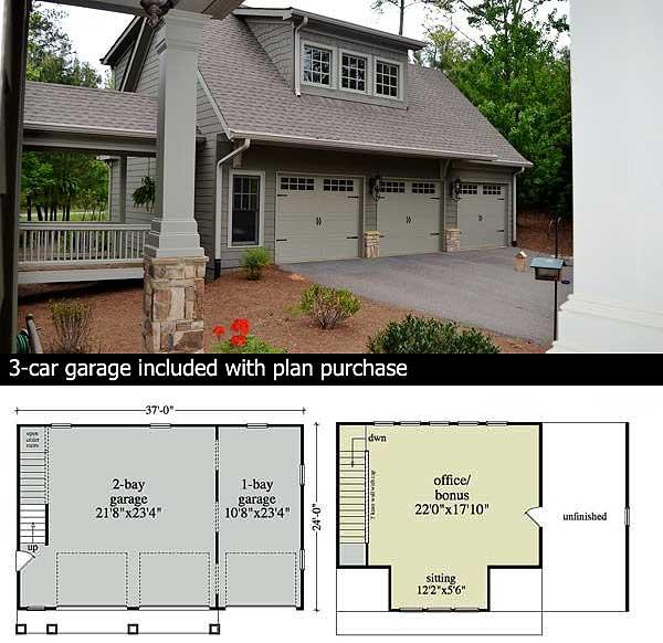 Mountain Home Plan with Garage and Bonus Level - 29826RL floor plan - Garage