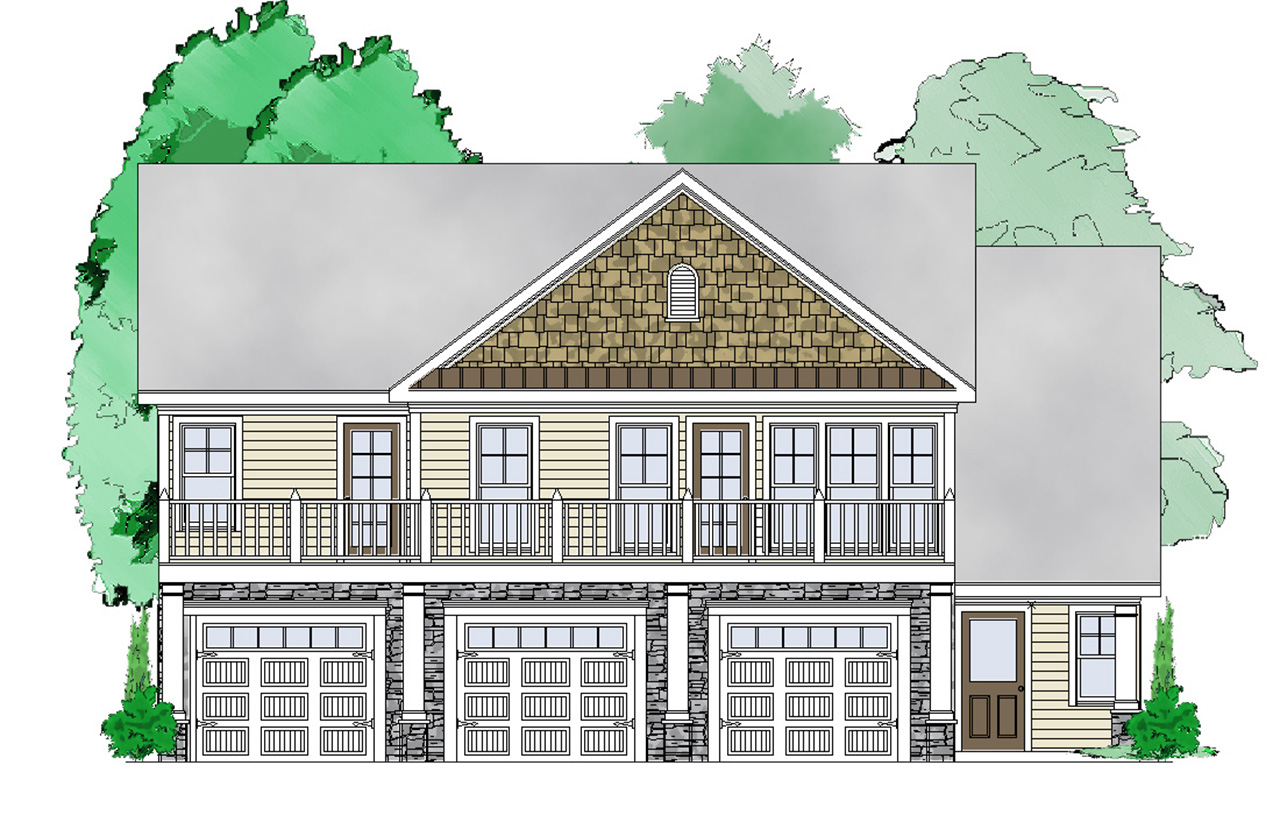 3 bay carriage house plan 29850rl architectural for Carriage house design plans